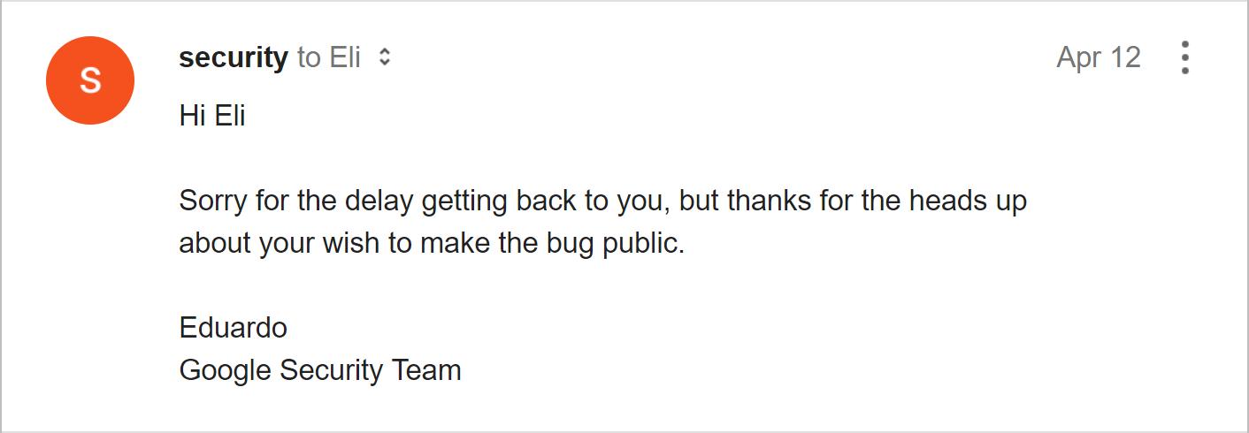 Google Inbox spoofing vulnerability — Eli Grey